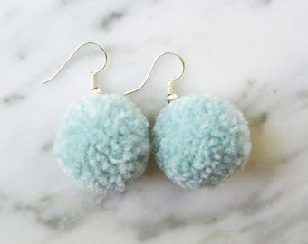 Blue Pom Pom Earrings (Small)
