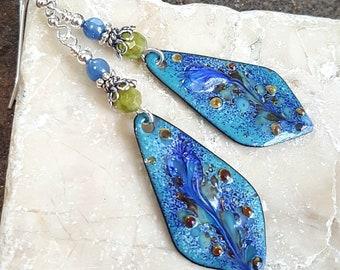 Blue Floral Enameled Copper Earrings with Green Garnet and Blue Kyanite, Sterling Silver, Boho Earrings, Natural Gemstone Jewelry