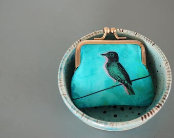 Bird on a wire coin purse, turquoise bird, teal silk pouch
