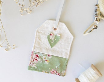 Fabric Gift Tag | Fabric Bag Charm | Pretty Packaging | Shabby Chic Hanging Decor | Handmade Luggage Label | Heart Tag | Fabric Tags