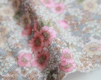 Flowers Cotton Fabric, Floral Fabric - Pink & Blue - 59 Inches Wide - By the Yard 82005