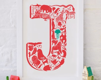 Animal Alphabet Letter J - Christmas gift - Nursery print - Nursery decor - Childrens art -