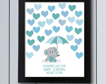 Elephant Baby Shower Guestbook / Printable Pdf / Umbrella Signature  Birthday Party Page Guest Book Idea Nursery Print Sign Alternative Tree