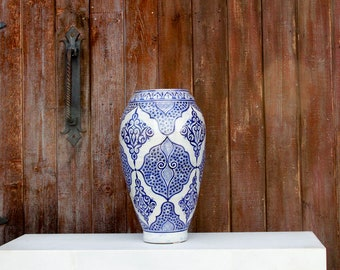 Vintage Moroccan Blue And White Vase, Moroccan Pot, Vintage Pot, Decorative Pot, Ceramic Pot, Ceramic Vase, Storage Jar, Morrocan painted