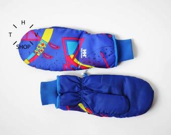 NOS Vintage Helly Hansen multicolor winter gloves / Mountain Ski Snowboarding Snow heated mittens / Unisex Blue purple geometric / 80s 90s