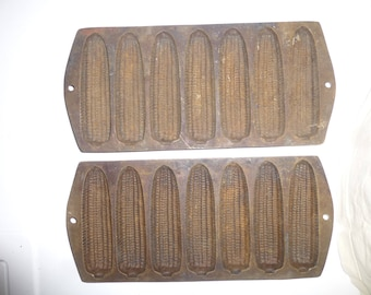 Antique Cast Iron Cornbread Mold Pans - Set of 2 - Seven Cob-shaped Loaves Per Pan - Hanging Forms for wall decor