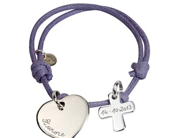 Communion engraved sterling silver charm bracelet