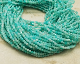 2mm Amazonite Faceted Beads, 13 inch