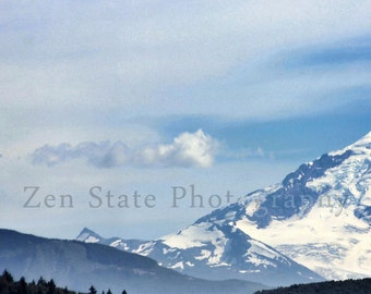 Snowy Mountain Photography Print of Mount Baker. Mountain Photo Wall Hanging. Mountain Landscape Photo Print, Framed Print, or Canvas Photo.