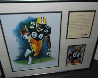 "Vintage 1994 Sterling Sharpe Green Bay Packers Giant Step  Lithograph Framed 11"" x 14"" framed Collage Wall hanging Kelly Russell Studios"