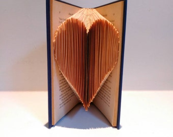Small folded heart. Reinvented book. Love. Perfect gift. Birthday. Gift for him. Gift for her. Anniversary. Any Occasion.