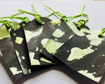 Black and Metallic Green Gift-Tags