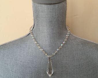 Vintage Upcycled Chandelier Crystal Drop & Mid Century AB Crystal Necklace