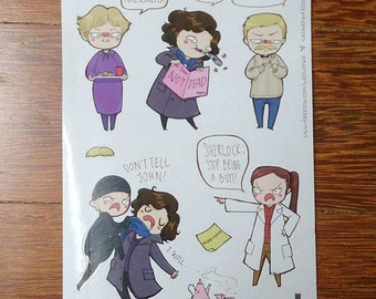 Sherlock BBC Pre-Cut Stickers (A6 sheet) | Over the Garden wall Pre-Cut Stickers (A6 sheet)
