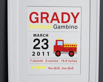 8 x 10 - Custom Birth Announcement Print - Fire Truck Wall art