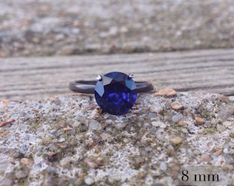 Dark Sapphire Ring with Blackened Silver, Bridesmaid Gift, September Birthstone, Sterling Silver and Blue Sapphire Cocktail Ring, Free Ship