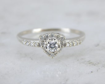 Unique Diamond Engagement Ring in White Gold RUWER3-N