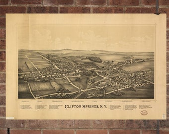 Vintage Clifton Springs Photo, Clifton Springs Map, Aerial Clifton Springs Photo, Old Clifton Springs Map, Clifton Springs Poster, NY Art