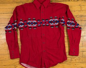 VINTAGE Red Patterned Wrangler Pearl Snap