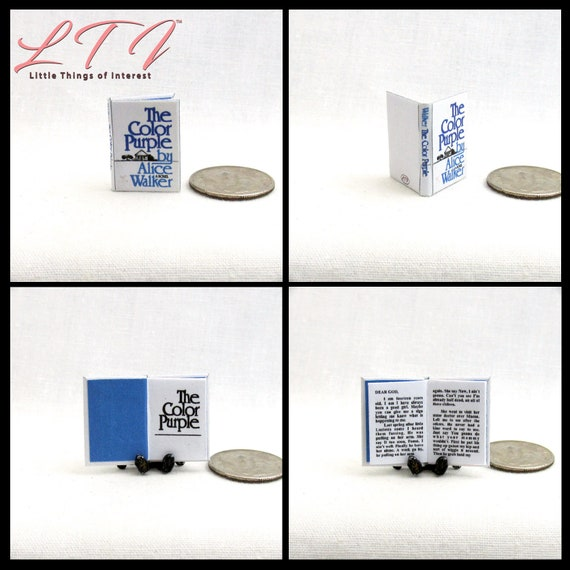 THE COLOR PURPLE Miniature Book Dollhouse 1:12 Scale Readable Book