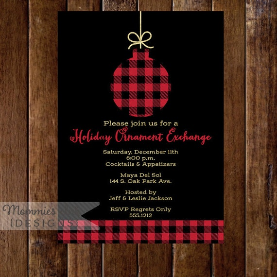 Faux Goldleaf Holiday Ornament Exchange Invite Buffalo Check
