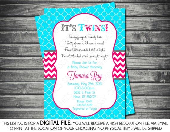 Twins baby shower invitation turquoise pink chevron boy filmwisefo