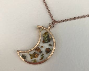 Pale rose gold filled crescent moon necklace