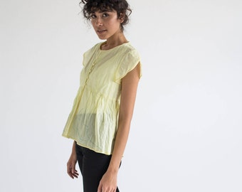 Yellow Tops Women's, Summer Tops, Linen Blouse, Loose Tops, Peplum Tops, Vacation Clothes, Handmade Tops, Workwear, Casual Tops For Ladies