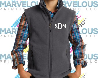 Youth embroidered Full Zip Fleece Vest Kids Boys Girls Monogrammed Y219