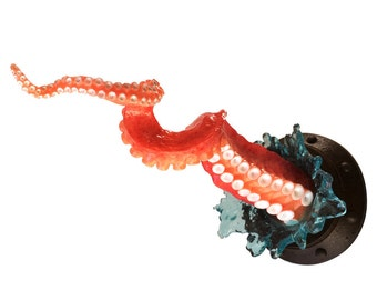 Octopus tentacle twist sculpture, twisted fabulous octopus arm with porthole and splash