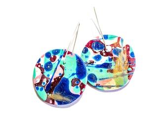 Jackson Pollock Inspired Resin Statement Earrings