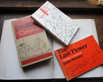3 Vintage James Thurber Books, The Last Flower, Lanterns and Lances,Carnival 1944,Conformity,American Cartoonist Journalist, Politics, Humor