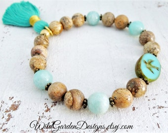 Turquoise Swallow Bracelet Boho Beaded Gemstone Bracelet Sparrow Bracelet Beach Colors Natural Amazonite and Picture Jasper Tassel Bracelet