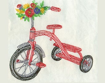 Open Stitch Tricycle with flowers Embroidery Design - Instant Digital Download