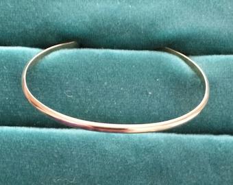 Solid red brass 1/2 round cuff bracelet