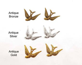 10 Antique Bronze, Antique Silver Or Antique Gold Swooping Swallow Charms, Jewelry Making - 32-7