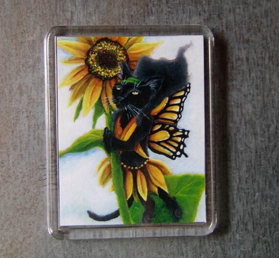 Sunflower Fairy Cat Magnet Black Cat Monarch Butterfly Wings Fantasy Art Fridge Magnet
