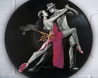 Tango painted vinyl record clock. Dance