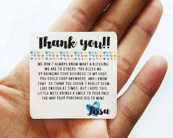 Thank you - Thank You Note Stickers Customizable