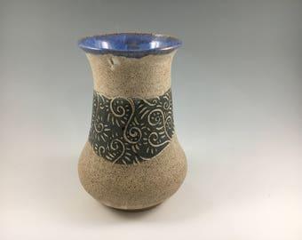 Pottery Flower Vase, Sgraffito Pottery Vase, Speckled Vase, Handmade Flower Vase, Gray, Blue