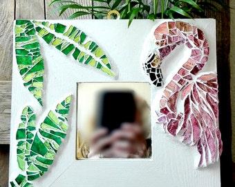 Flamingo, mirror, home decor,interior decor, pink, green, bathroom decor, bedroom decor, summer, fresh, trendy