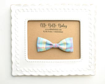 Vintage Pastel Plaid Bow Tie - Baby Bowtie - Ring Bearer Tie - Wedding Bow tie - Toddler Bow tie - Clip on Bowtie