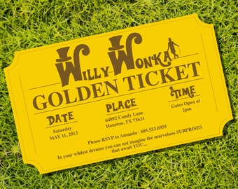 Golden Ticket Invitation Birthday Party Theme - Instantly Downloadable and Editable File - Personalize at home with Adobe Reader