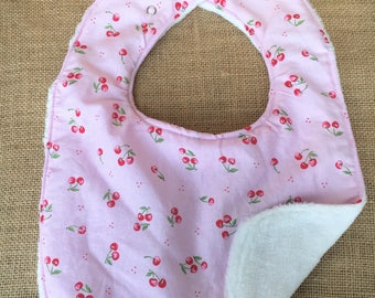 Cherries, pink, white, minky, cotton, fabric, baby