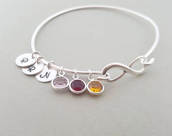 Infinity Silver Bangle Bracelet - Personalized Initial Swarovski Birthstone Family Tree Bracelet - Gift for Mom