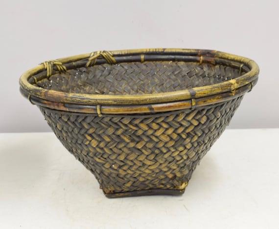 Basket Bowl Woven Rattan Bamboo Basket Ifugao Philippines Handmade Woven Rattan Basket Food Storage Harvesting  Unique