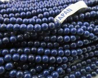 200 Vintage 3.5mm Navy Blue Plastic Beads Bd929