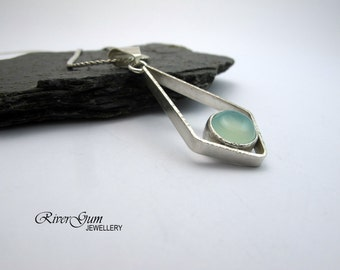 Aqua Blue Chalcedony & Sterling Silver Pendant, Gemstone Jewelry, Fabricated, Metalwork, Handmade by RiverGum Jewellery