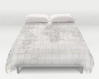 World map duvet cover warm comforter bed bedroom travel cream world map duvet cover bed bedroom travel decor cozy soft gumiabroncs Images