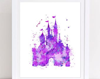 70% Princess Castle Watercolor Print Poster Printable Castle Poster Disney Castle Print Nursery Castle Print Watercolor Disney Castle Poster